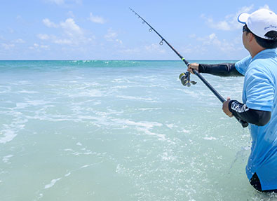 Inshore rigs and fishing apparel sold at the Tackle Store