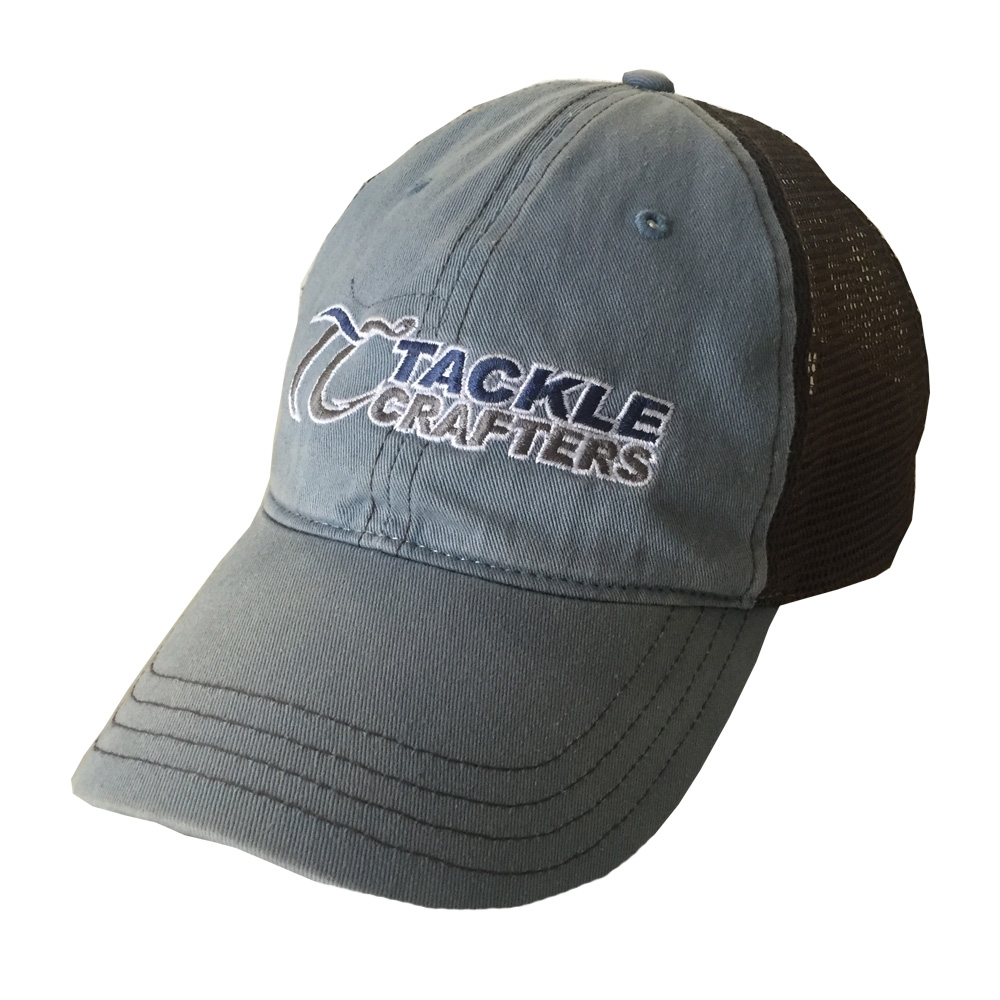 Washed trucker mens fishing hat tackle crafters for Fishing trucker hats